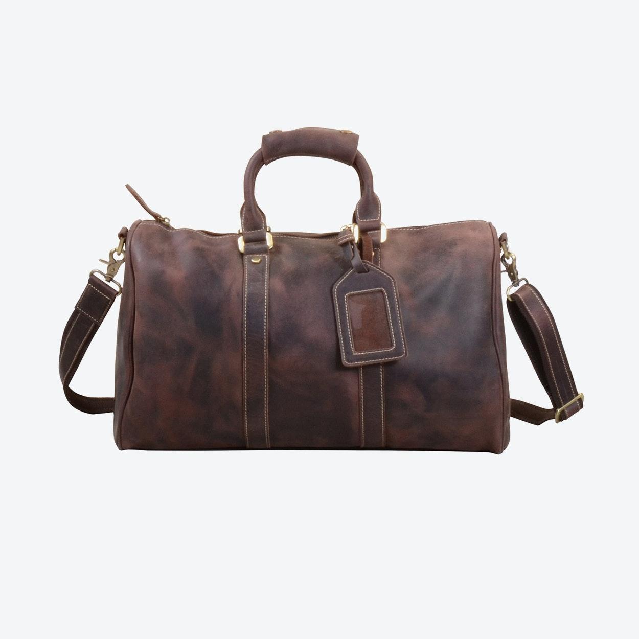 303bb35b586 Vintage Leather Weekend Bag in Dark Brown