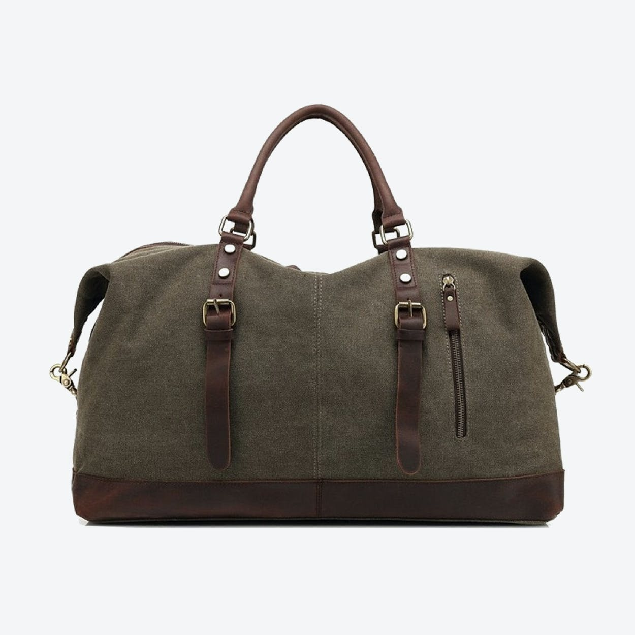 Canvas Classic Travel Holdall Bag in Postal Green