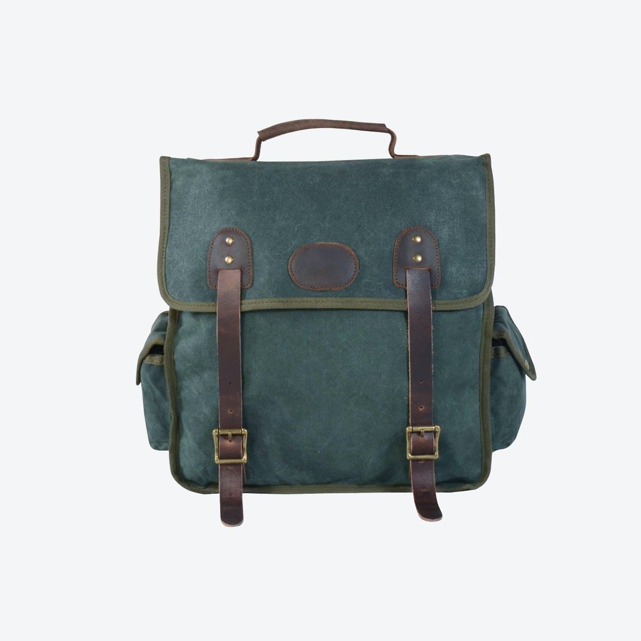 Waxed Canvas Waterproof Backpack in Postal Green