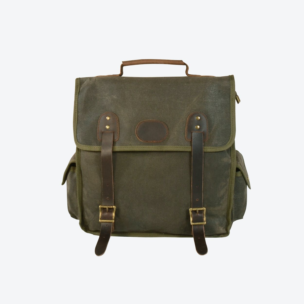 Waxed Canvas Waterproof Backpack in Army Green