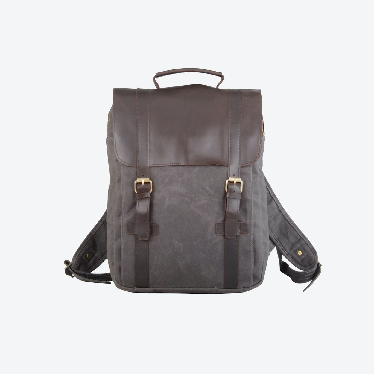 Waxed Canvas And Leather Backpack in Grey