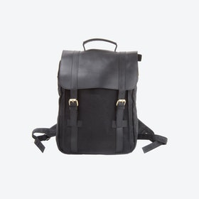 Waxed Canvas And Leather Backpack in Black