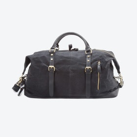 Waxed Classic Travel Holdall Bag in Black