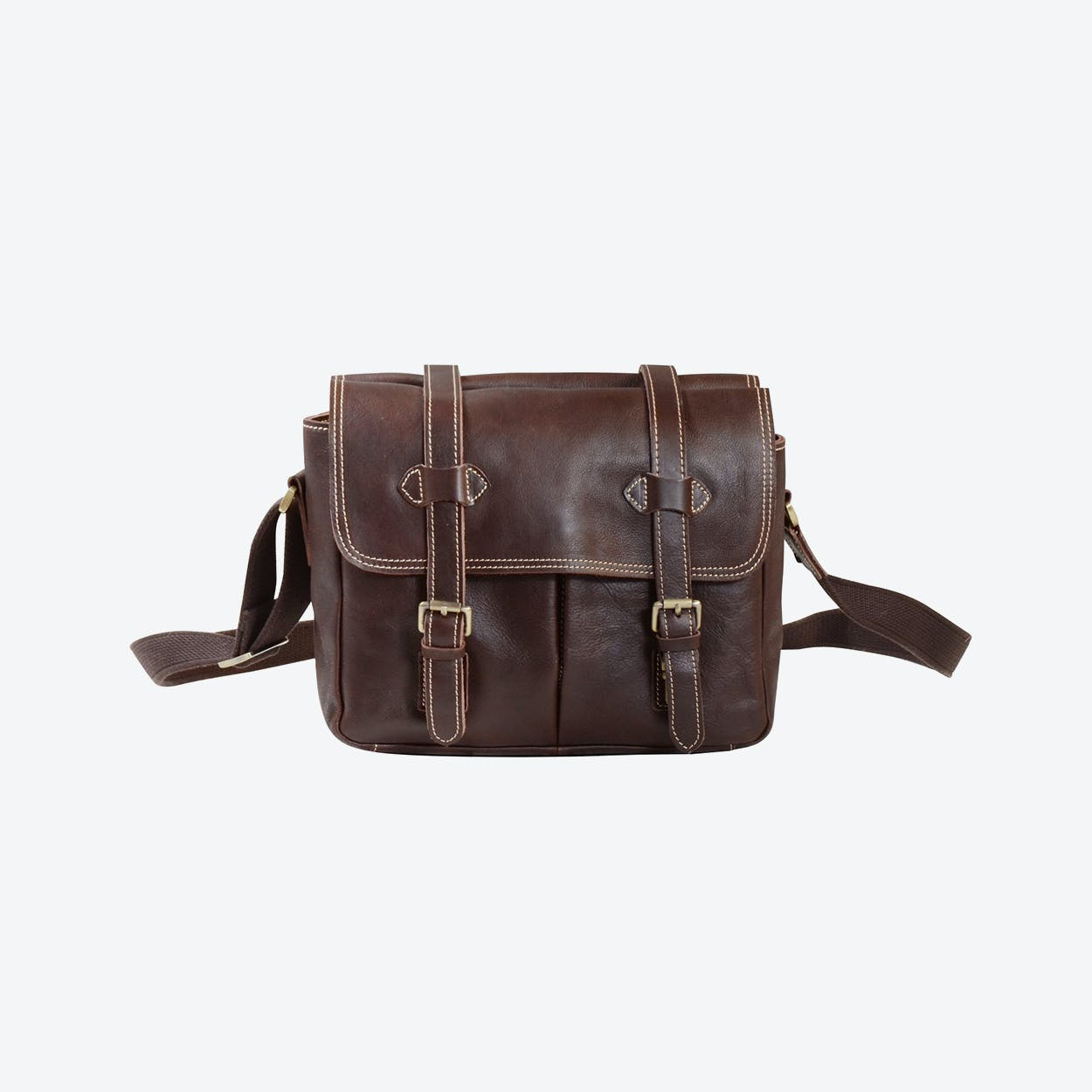 Leather Dslr Camera Bag in Dark Brown