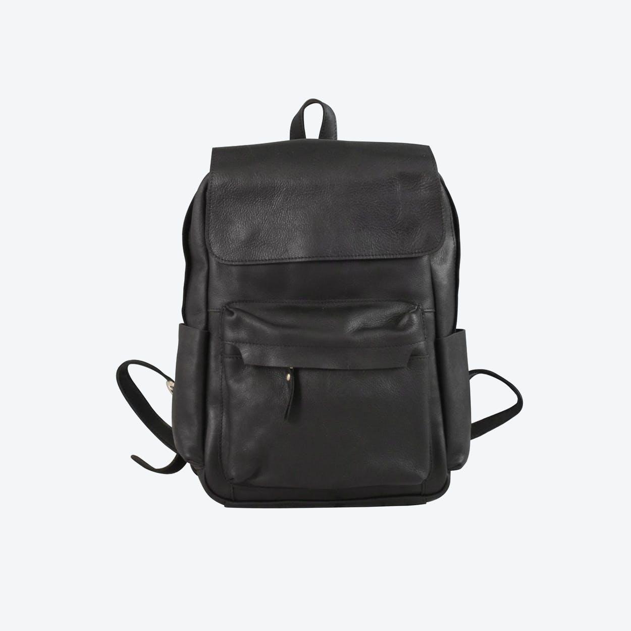 Vintage Leather Backpack in Black