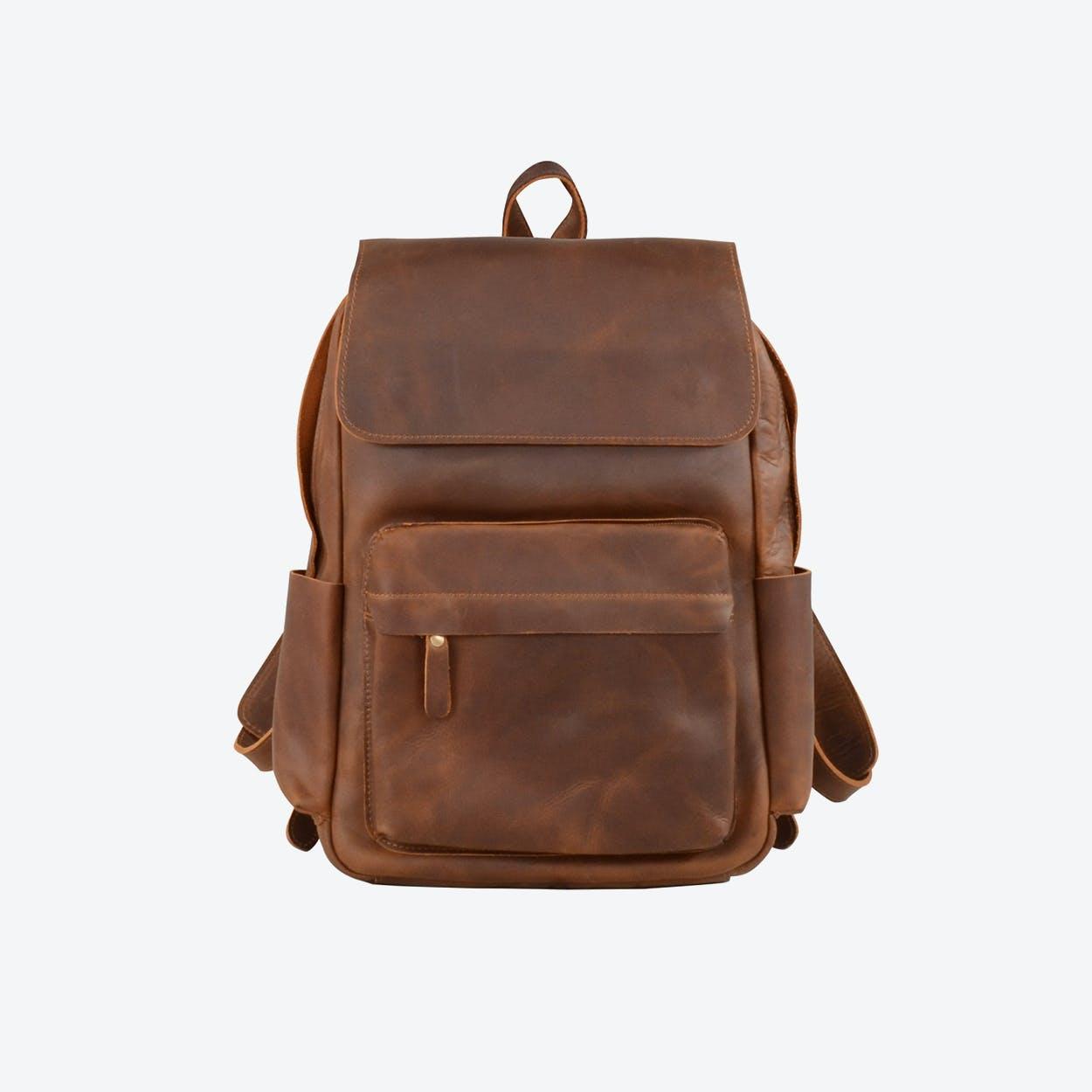 Vintage Leather Backpack in Brown