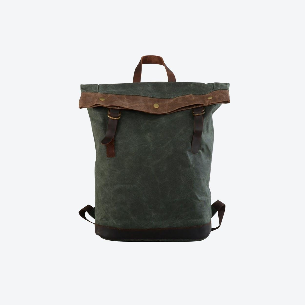 Waxed Canvas Bucket Backpack in Teal