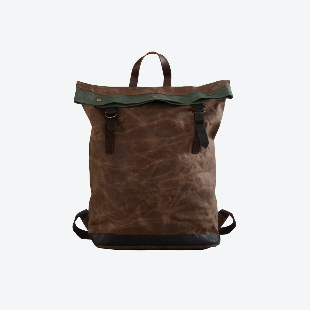 Waxed Canvas Bucket Backpack in Brown