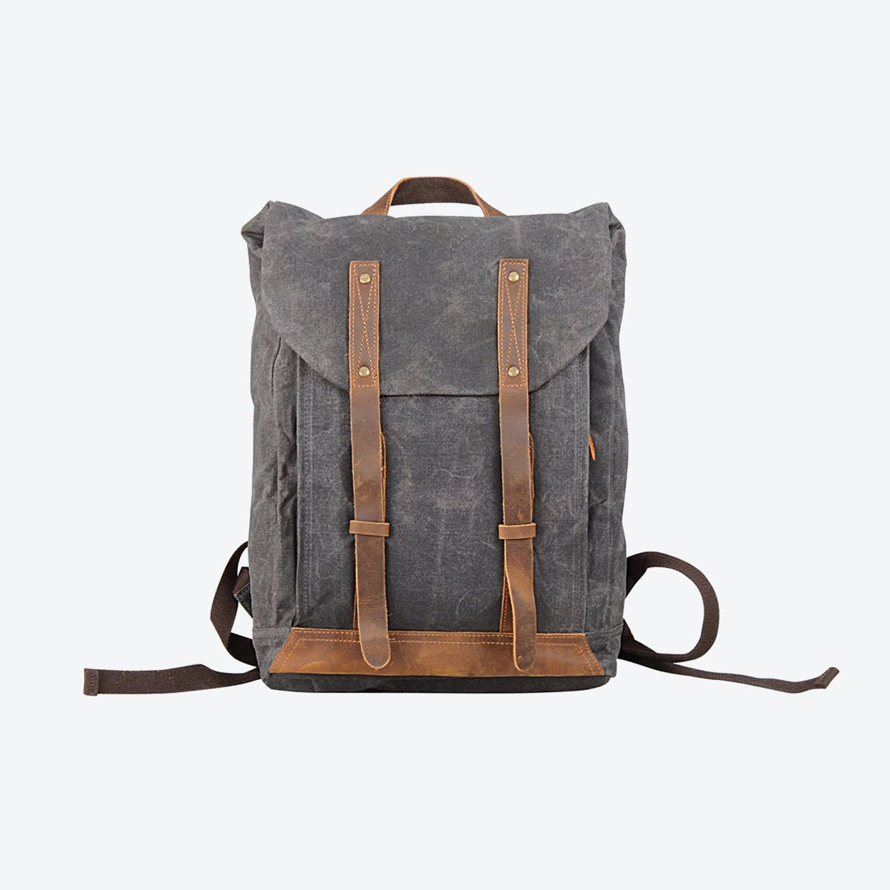 Leather Straps Waxed Canvas Backpack in Grey