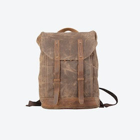 Leather Straps Waxed Canvas Backpack in Brown