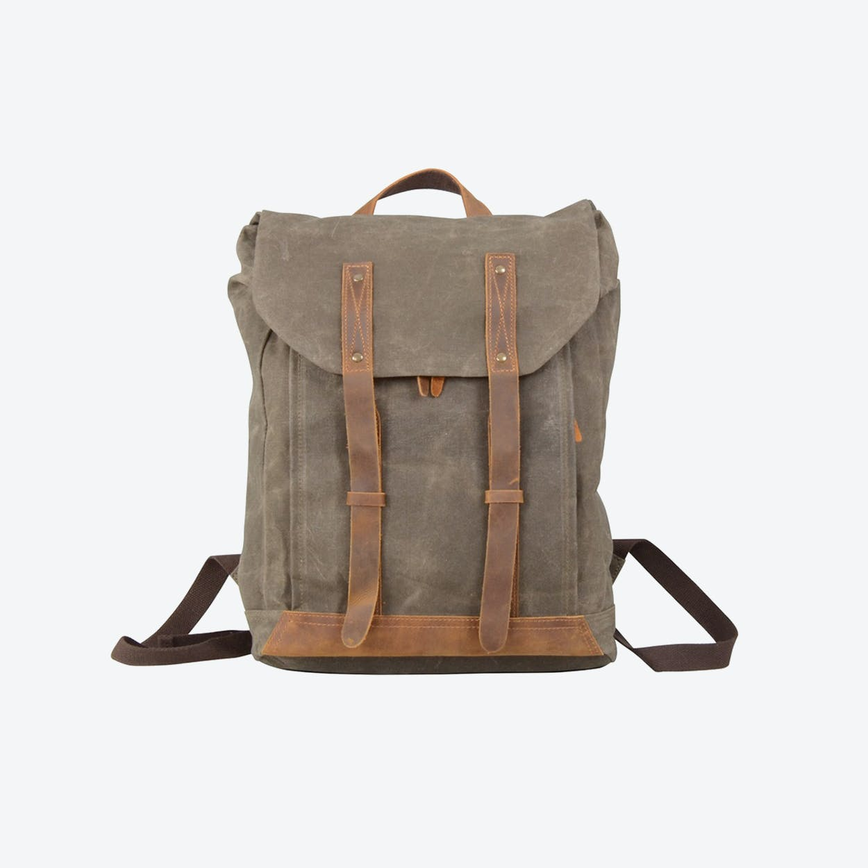 Leather Straps Waxed Canvas Backpack in Green
