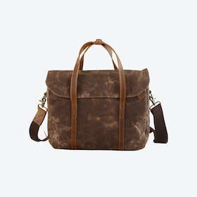 Waxed Canvas Cross Body Laptop Bag in Brown
