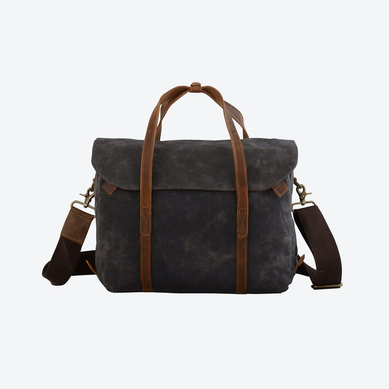 Waxed Canvas Cross Body Laptop Bag in Grey