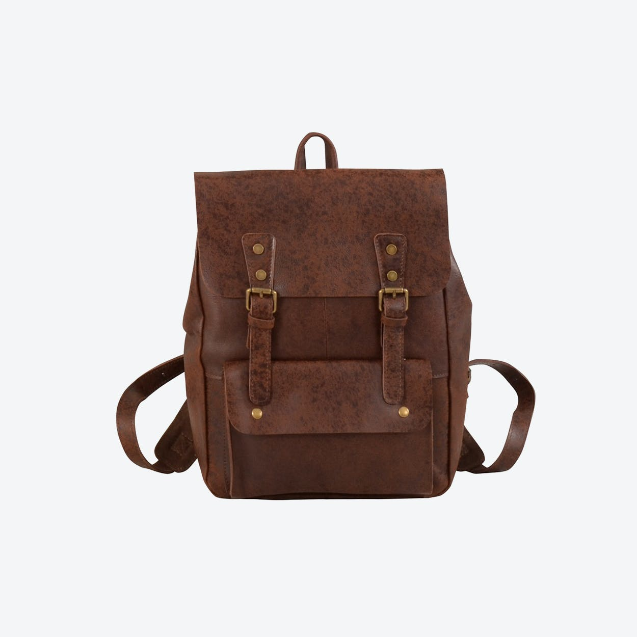 Large Military Style Vintage Look Leather Backpack