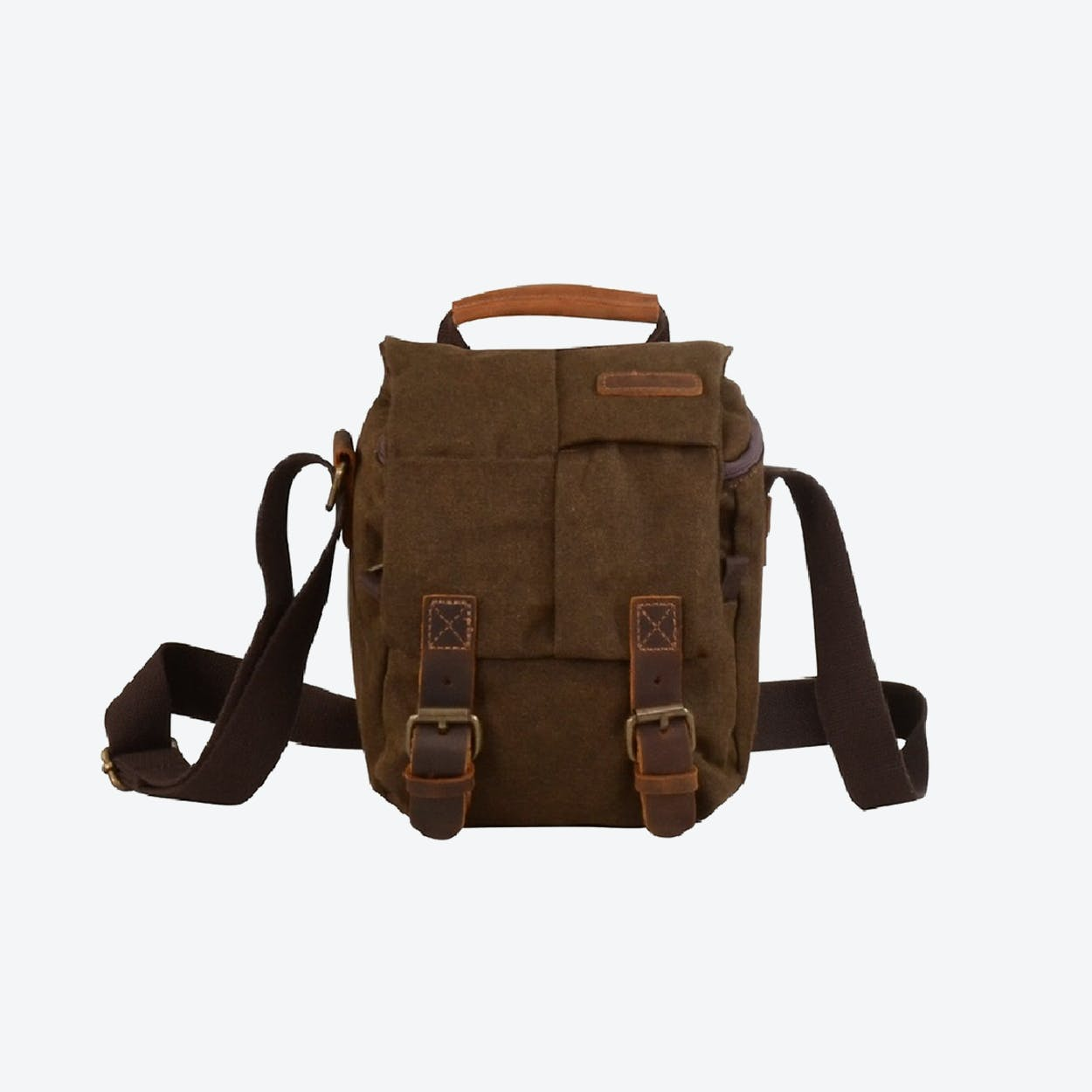 Compact Canvas Leather Dslr Camera Bag in Brown