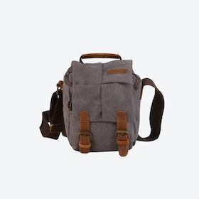 Compact Canvas Leather Dslr Camera Bag in Grey