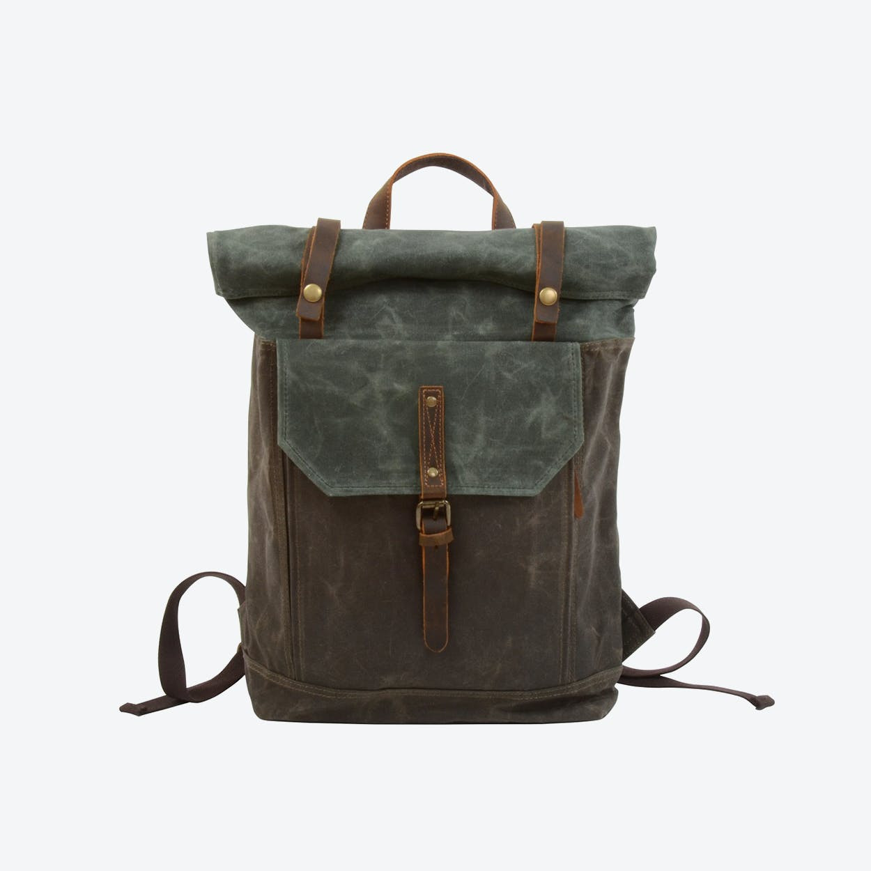 Waxed Canvas Rolltop Backpack in Teal
