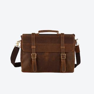 Leather Laptop Satchel Bag in Brown