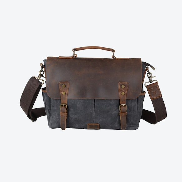 0bf7c1929e Waxed Canvas Messenger Bag With Dslr Camera Sleeve in Grey by Eazo - Fy