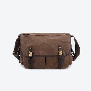 Waxed Canvas Water Repellent Shoulder Bag in Brown