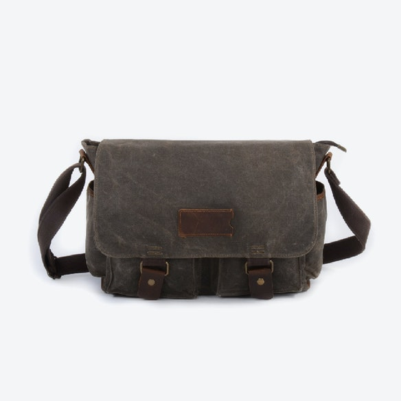 17b4c91d19 Waxed Canvas Water Repellent Postman Shoulder Bag in Green by Eazo - Fy