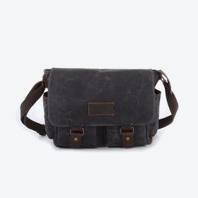 Waxed Canvas Water Repellent Postman Shoulder Bag in Grey