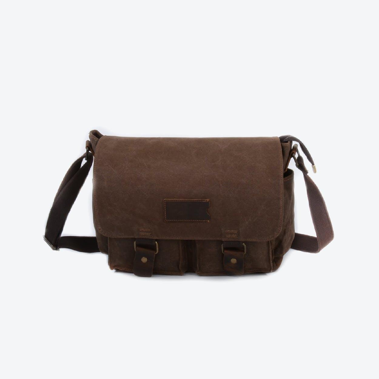Waxed Canvas Water Repellent Postman Shoulder Bag in Brown