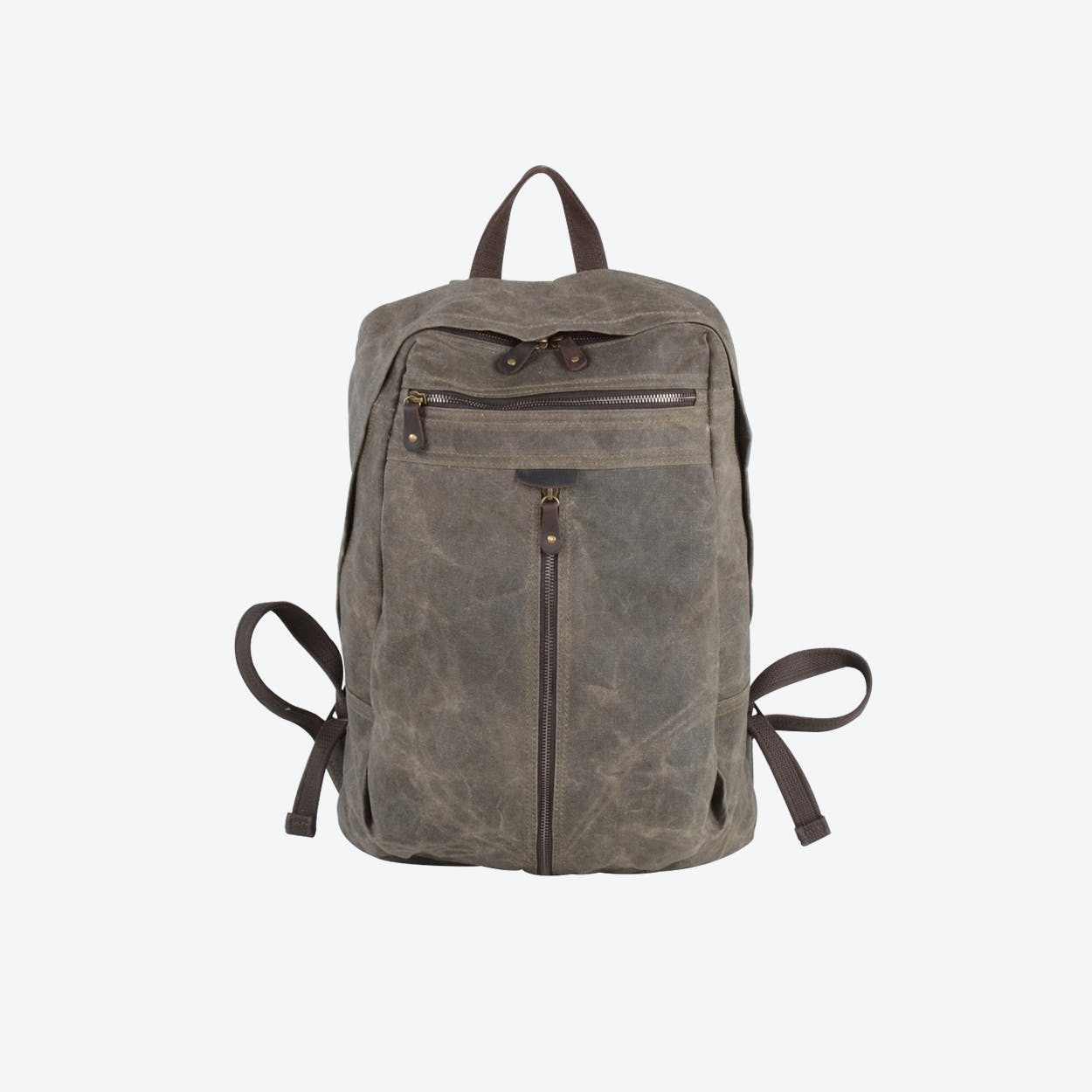 Zip Front Waxed Canvas Backpack in Green