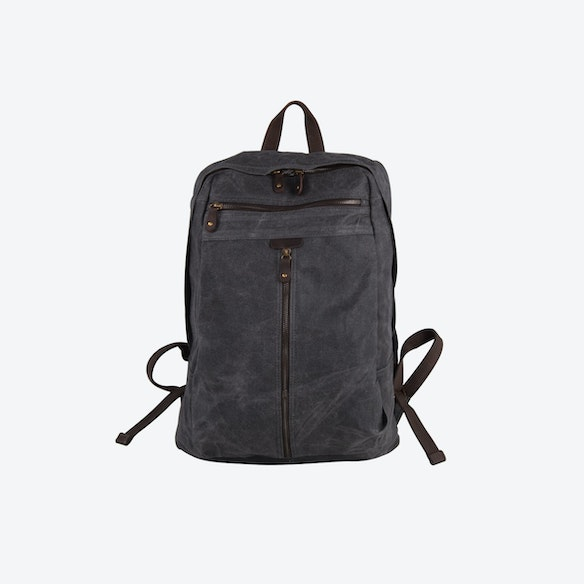 29fc0113357 Zip Front Waxed Canvas Backpack in Grey by Eazo - Fy