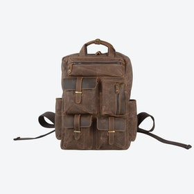 Military Style Multi Pockets Waxed Canvas Backpack in Brown