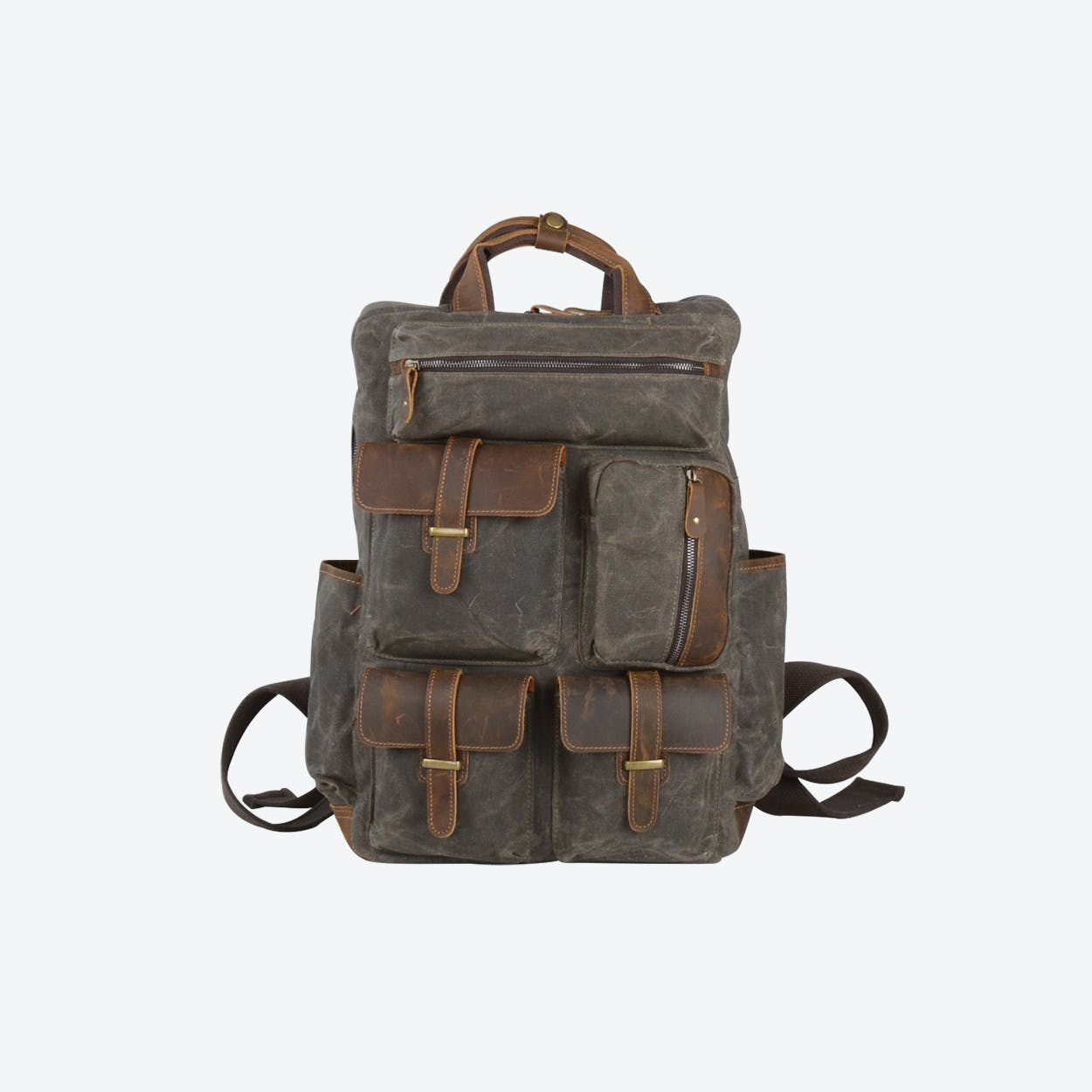 Military Style Multi Pockets Waxed Canvas Backpack in Green
