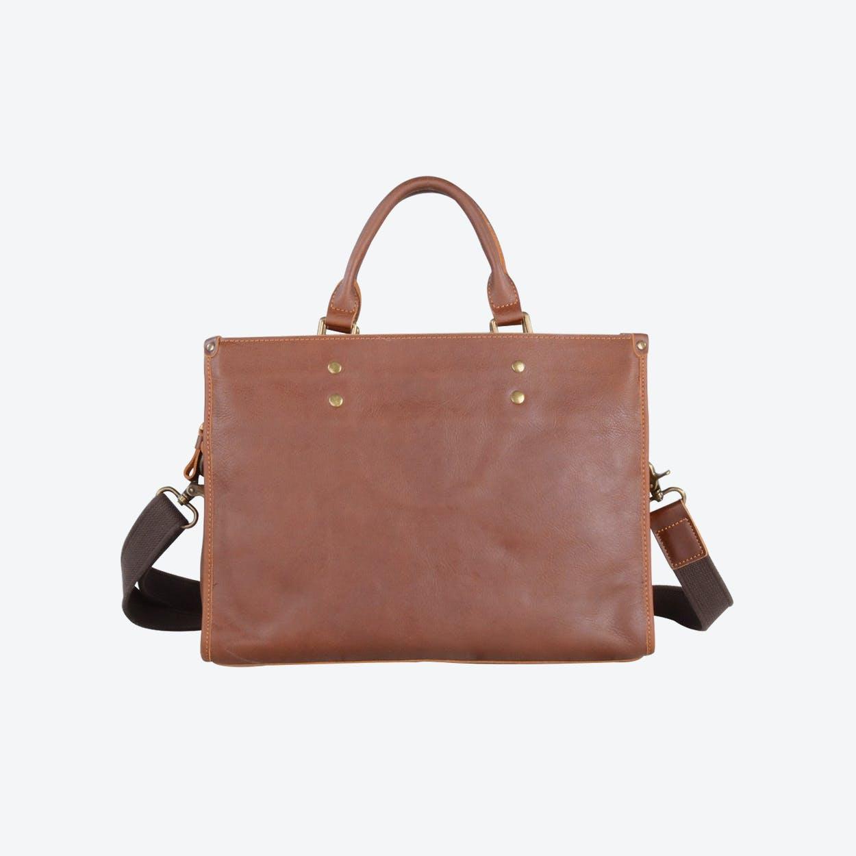 Handmade Leather Briefcase Vintage Look in Brown
