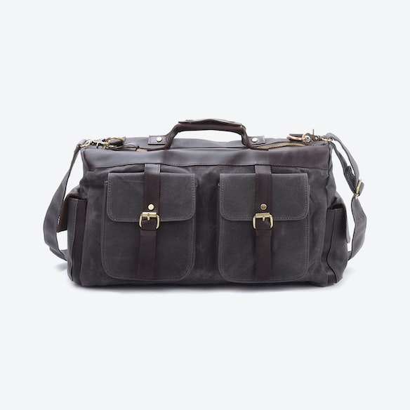 396e955890c Waxed Canvas Double Front Pockets Weekend Travel Bag in Grey by Eazo ...