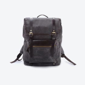 Extra Large Waxed Canvas Backpack in Grey