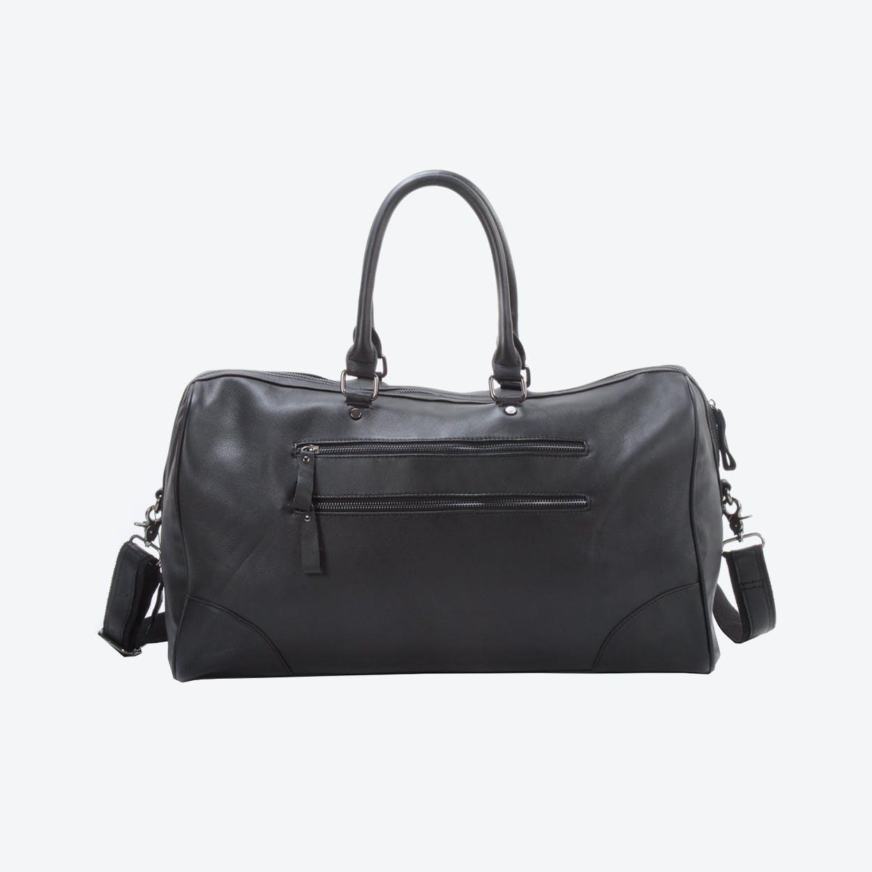 Genuine Leather Travel Holdall Duffel in Black