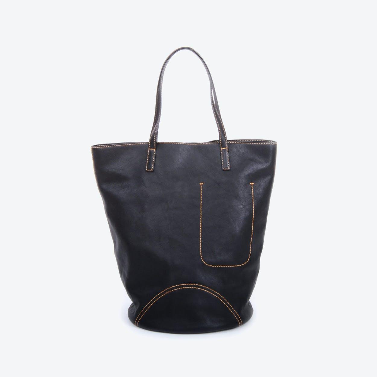 Womens Genuine Leather Tote Bag in Black
