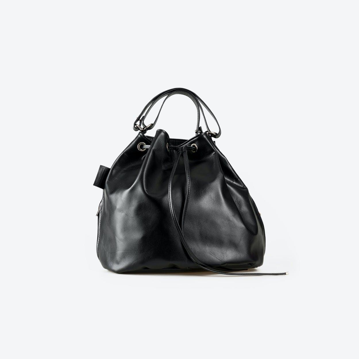 PRUNA Black Leather Tote Bag