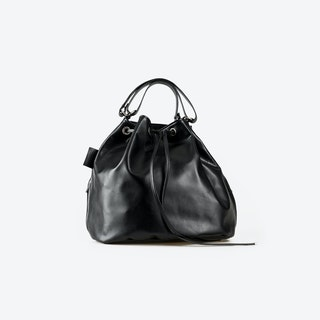 PRUNA Black Leather Tote Bag