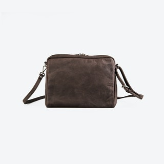 POPINS Brown Leather Shoulder Bag