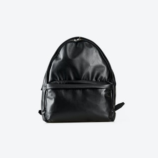 LUDWIG Black Leather Backpacks