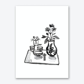 Dinner with Cat Art Print