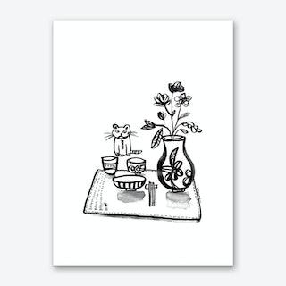 Dinner with Cat Art Print