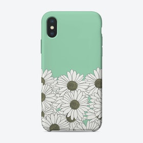 Daisy Mint Boarder iPhone Case