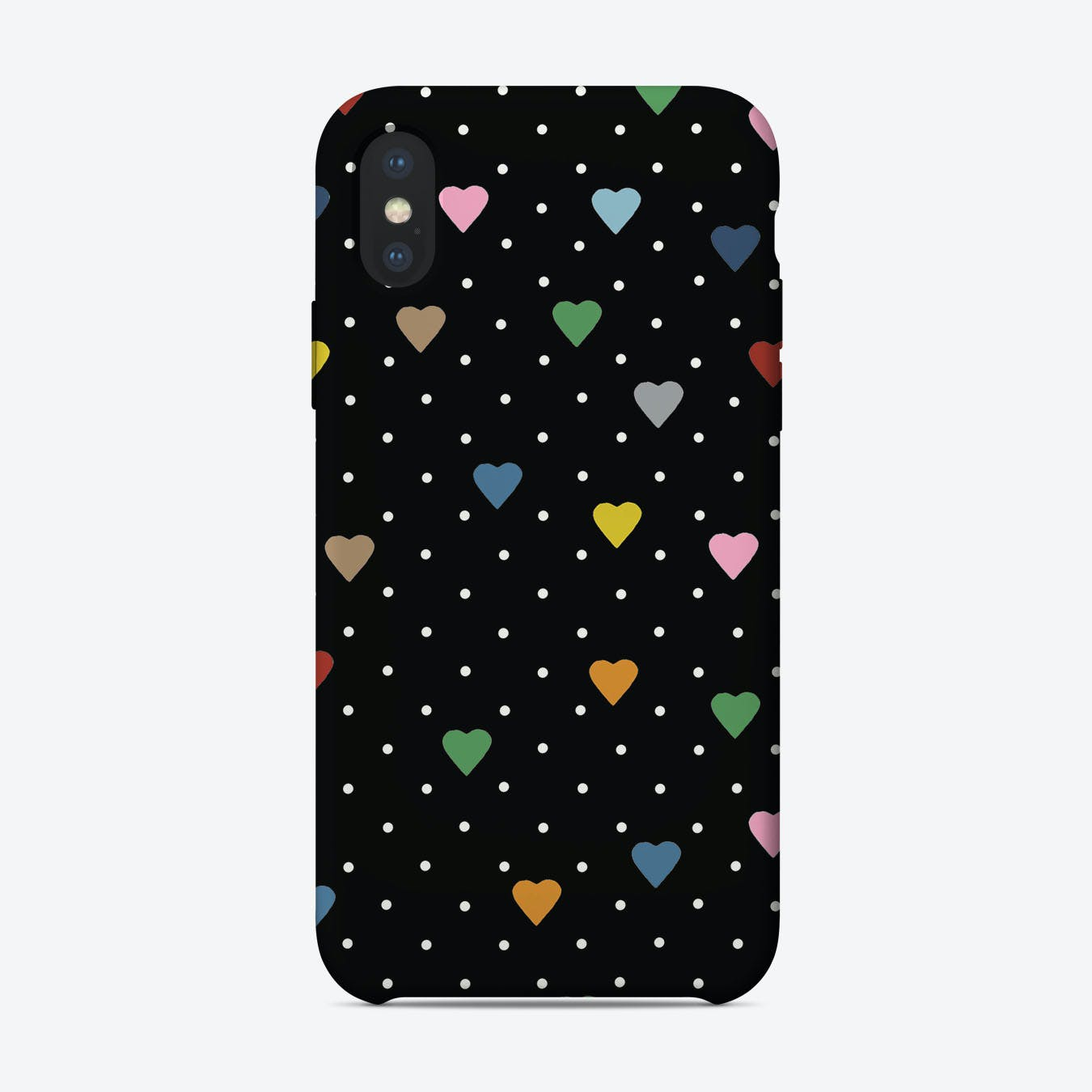 Pin Points Hearts Colour Black iPhone Case