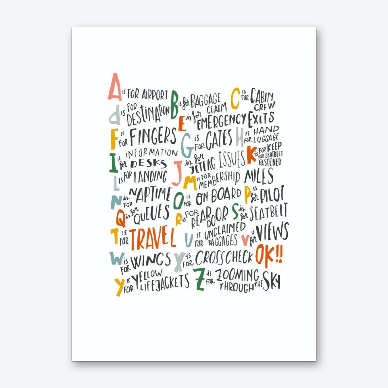 Travel Alphabet Art Print