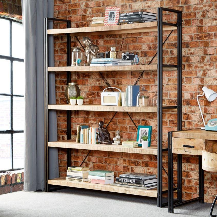 Mango Wood Large Open Bookcase