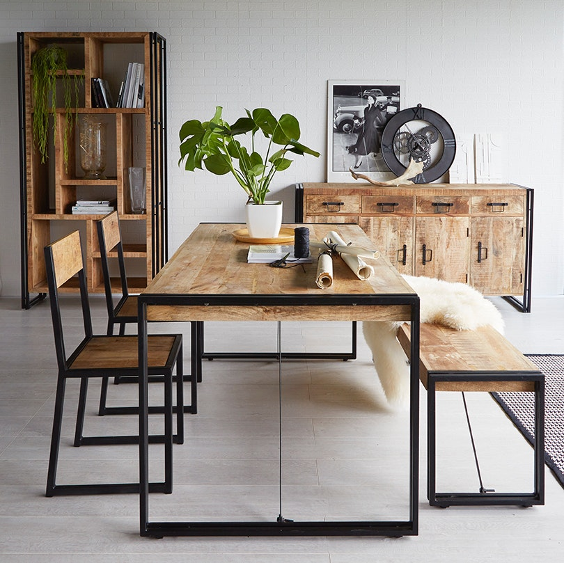 Mango Wood Metal Dining Table