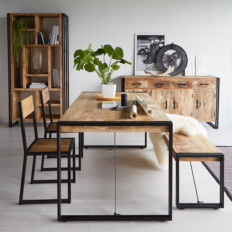 Mango Wood Metal U0026 Wood Dining Table   Large
