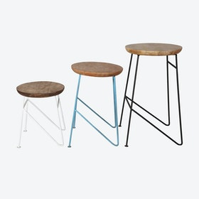 Wooden Large Set of 3 Stools
