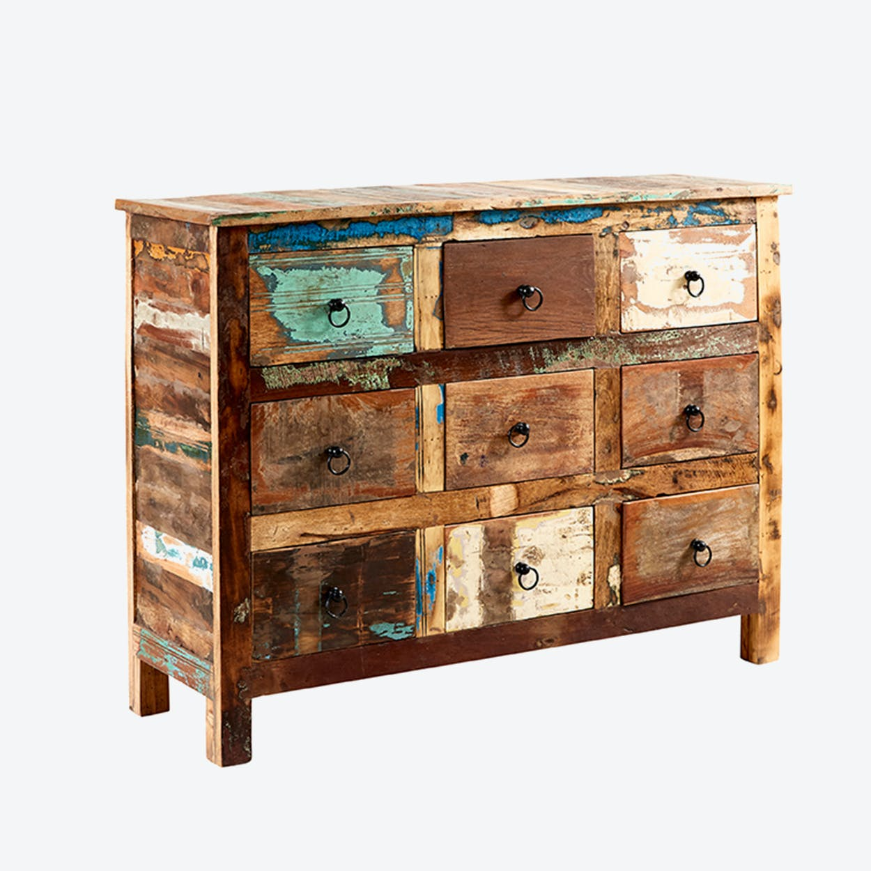 Reclaimed Wood 9 Drawer Chest